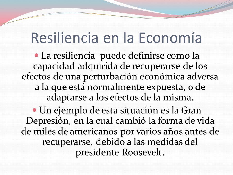 Resiliencia en la Economía La resiliencia puede definirse como la capacidad adquirida de recuperarse de los efectos de una perturbación económica adve