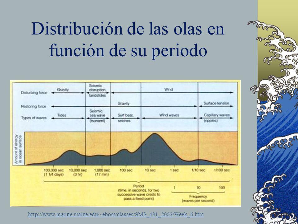 Distribución de las olas en función de su periodo http://www.marine.maine.edu/~eboss/classes/SMS_491_2003/Week_6.htm
