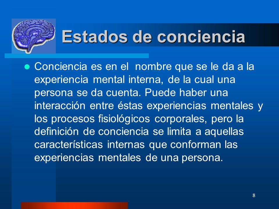 8 Estados de conciencia Estados de conciencia Conciencia es en el nombre que se le da a la experiencia mental interna, de la cual una persona se da cuenta.