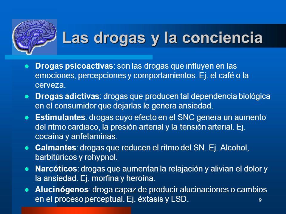 9 Las drogas y la conciencia Las drogas y la conciencia Drogas psicoactivas: son las drogas que influyen en las emociones, percepciones y comportamientos.