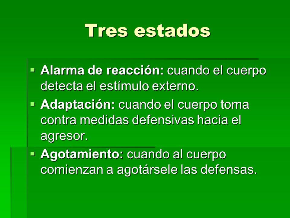 Tres estados Alarma de reacción: cuando el cuerpo detecta el estímulo externo. Alarma de reacción: cuando el cuerpo detecta el estímulo externo. Adapt