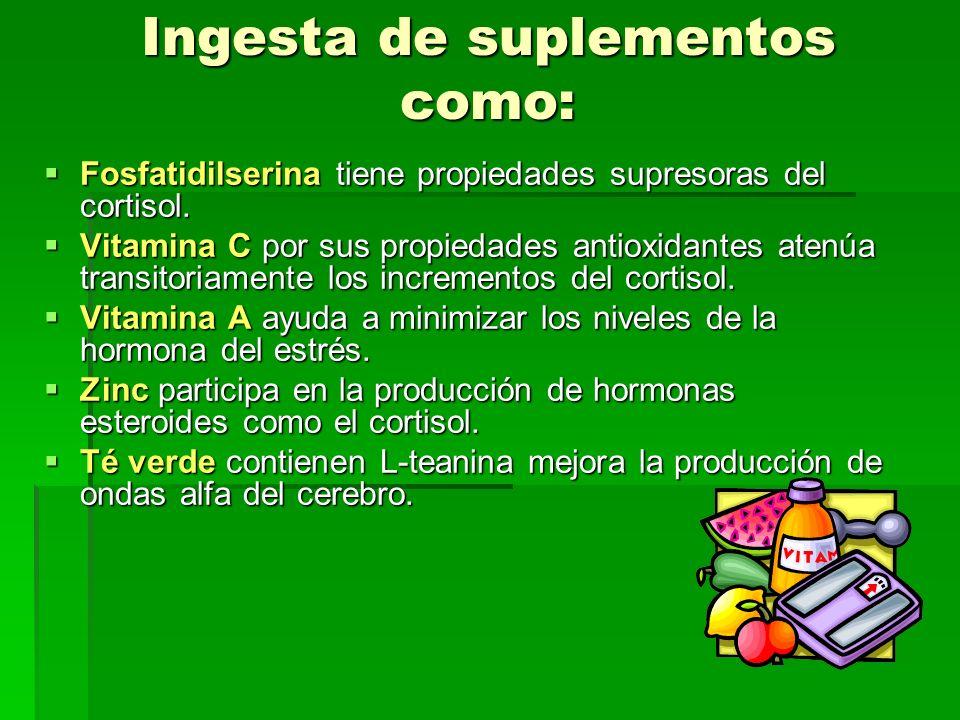 Ingesta de suplementos como: Fosfatidilserina tiene propiedades supresoras del cortisol. Fosfatidilserina tiene propiedades supresoras del cortisol. V