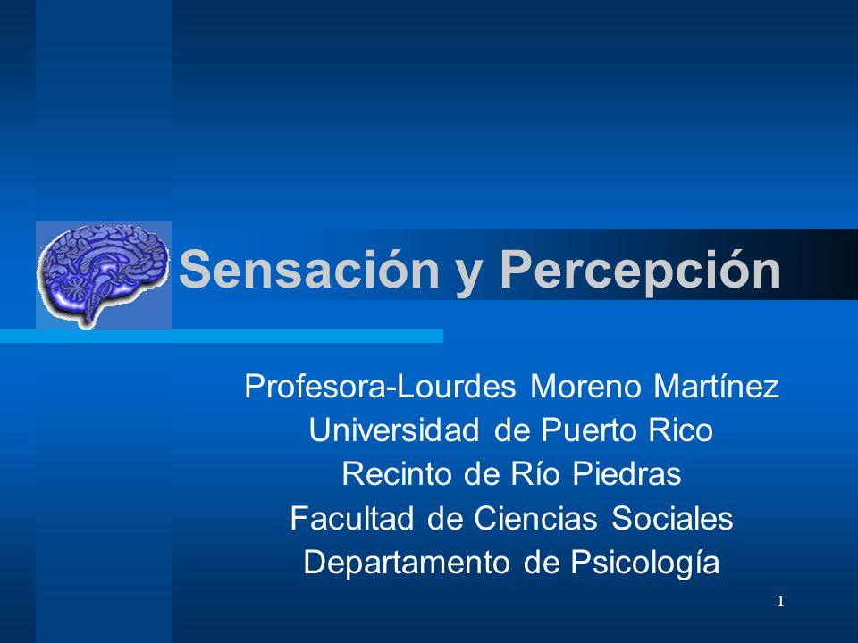 1 Sensación y Percepción Profesora-Lourdes Moreno Martínez Universidad de Puerto Rico Recinto de Río Piedras Facultad de Ciencias Sociales Departament