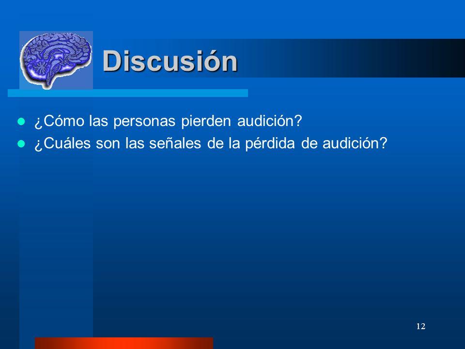 12 Discusión ¿Cómo las personas pierden audición? ¿Cuáles son las señales de la pérdida de audición?