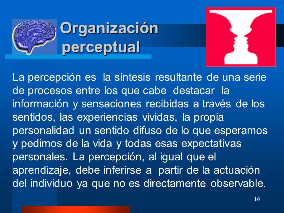 16 Organización perceptual Organización perceptual La percepción es la síntesis resultante de una serie de procesos entre los que cabe destacar la inf