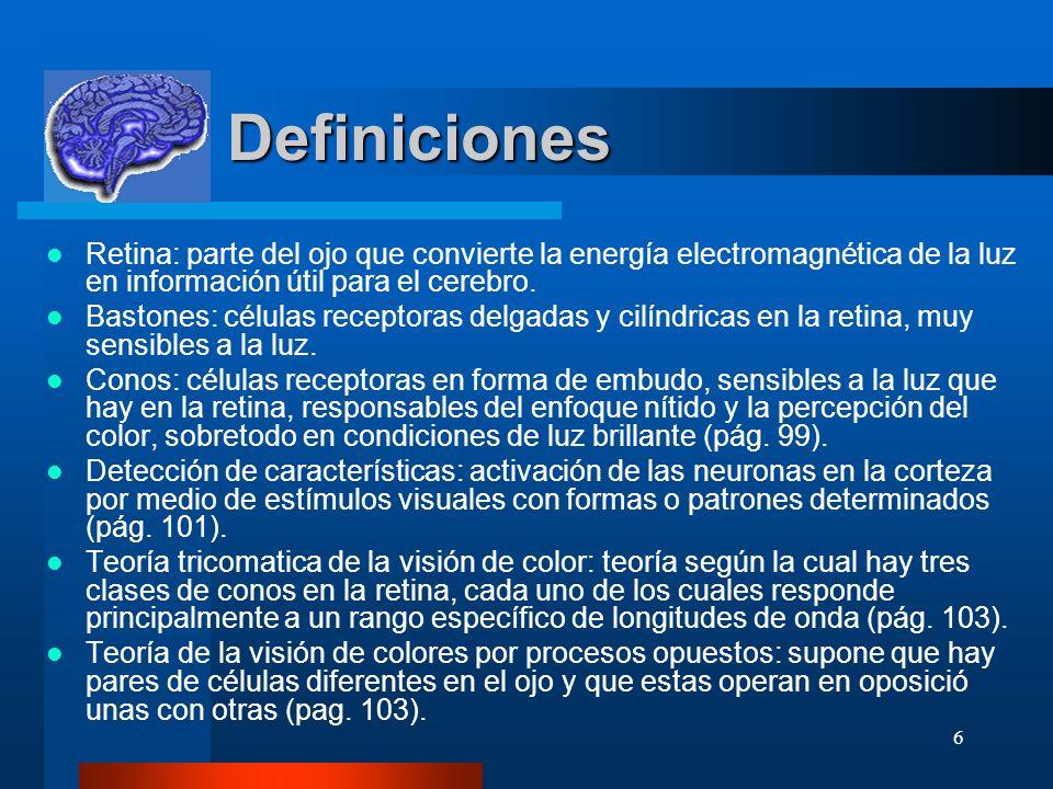 6 Definiciones Definiciones Retina: parte del ojo que convierte la energía electromagnética de la luz en información útil para el cerebro. Bastones: c