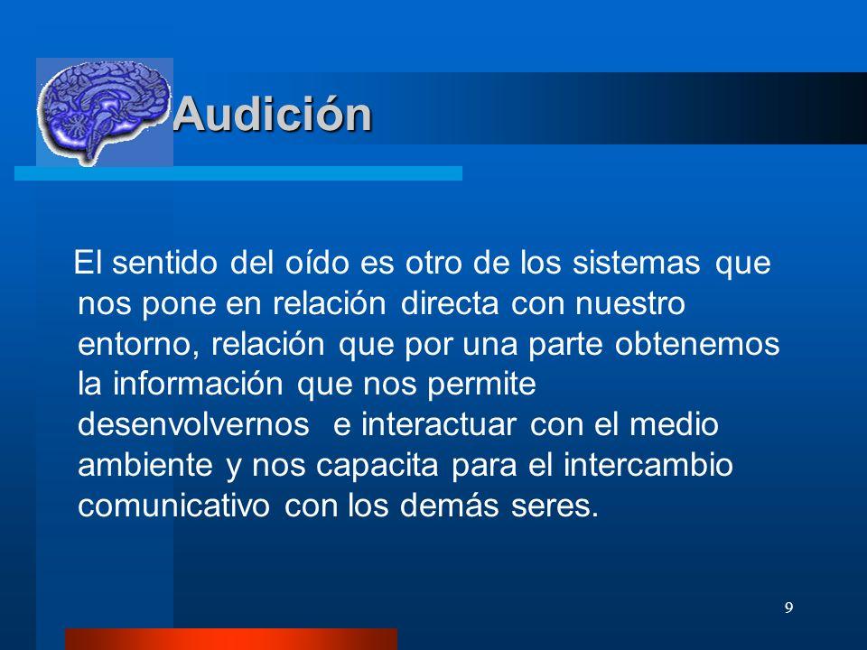9 Audición Audición El sentido del oído es otro de los sistemas que nos pone en relación directa con nuestro entorno, relación que por una parte obten