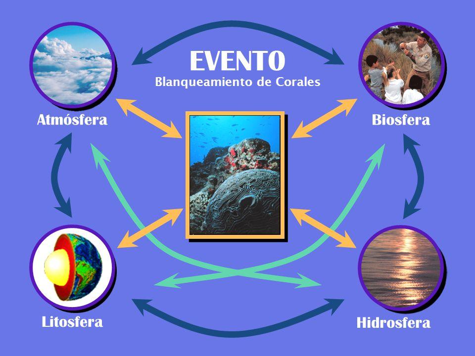 Atmósfera EVENT0 Biosfera Litosfera Hidrosfera Blanqueamiento de Corales