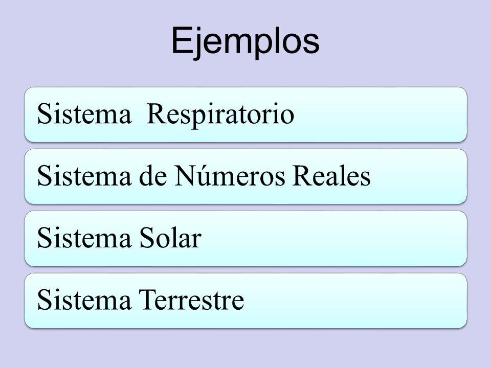 Ejemplos Sistema RespiratorioSistema de Números RealesSistema SolarSistema Terrestre