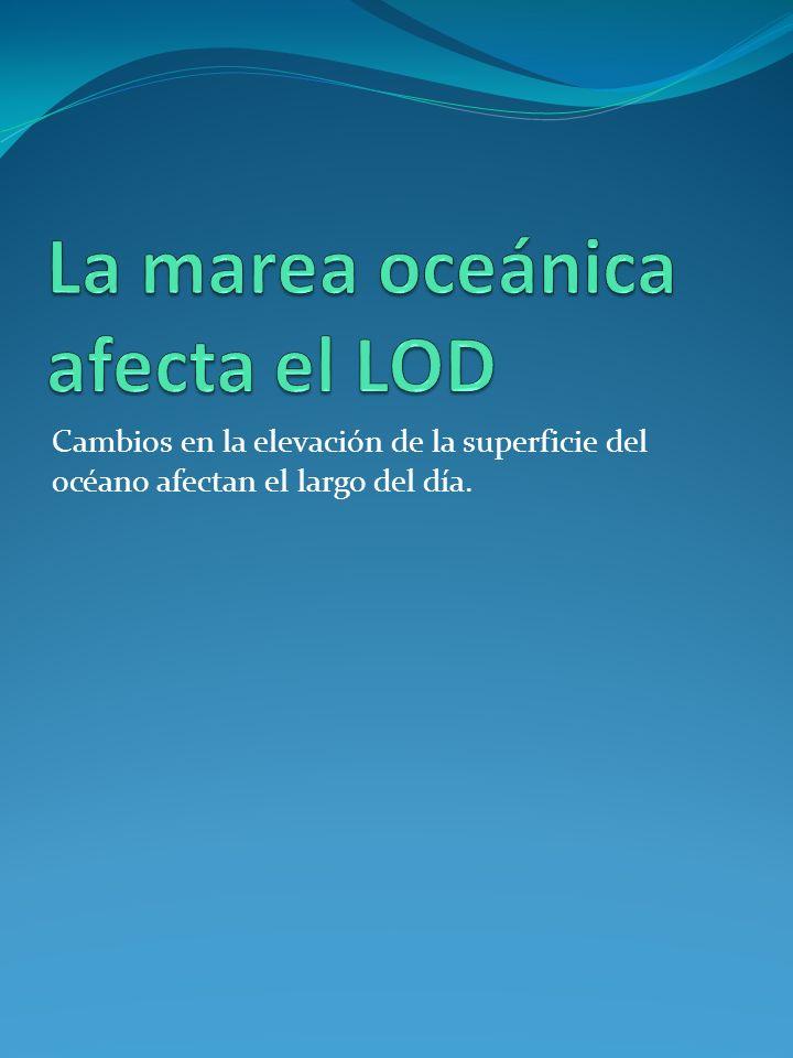 Cambios en la elevación de la superficie del océano afectan el largo del día.