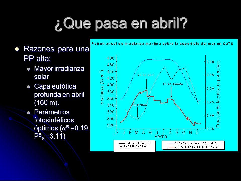 ¿Que pasa en abril? Razones para una PP alta: Razones para una PP alta: Mayor irradianza solar Mayor irradianza solar Capa eufótica profunda en abril