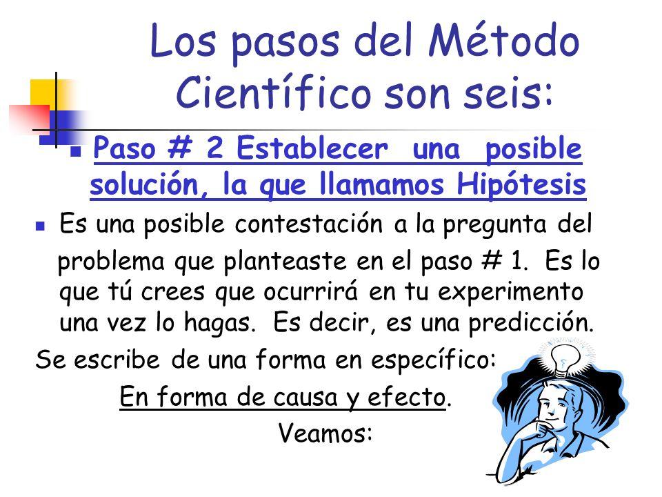 Los pasos del Método Científico son seis: Paso # 1 ESTABLECER EL PROBLEMA Es lo que quieres investigar y probar con tu experimento.