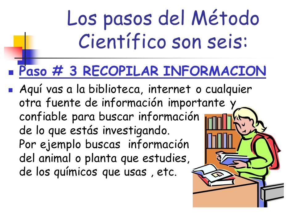 Los pasos del Método Científico son seis: La Hipótesis se escribe en forma de una oración donde hay una CAUSA y un EFECTO Es decir: Si hago esto ( CAUSA), entonces ocurrirá esto (EFECTO).