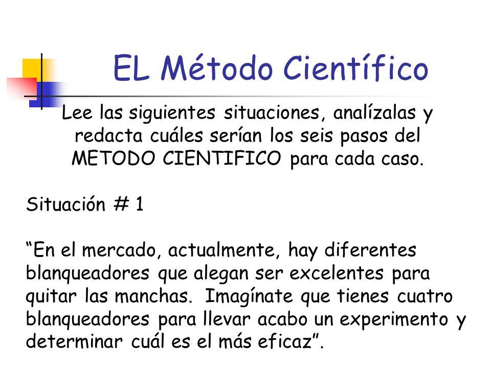 Es importante indicar que durante este proceso se complementa y solidifica la práctica de los pasos del Método Científico mediante la presentación de Situaciones imaginarias en las que los estudiantes indican los pasos del Método Científico específicos a cada situación.