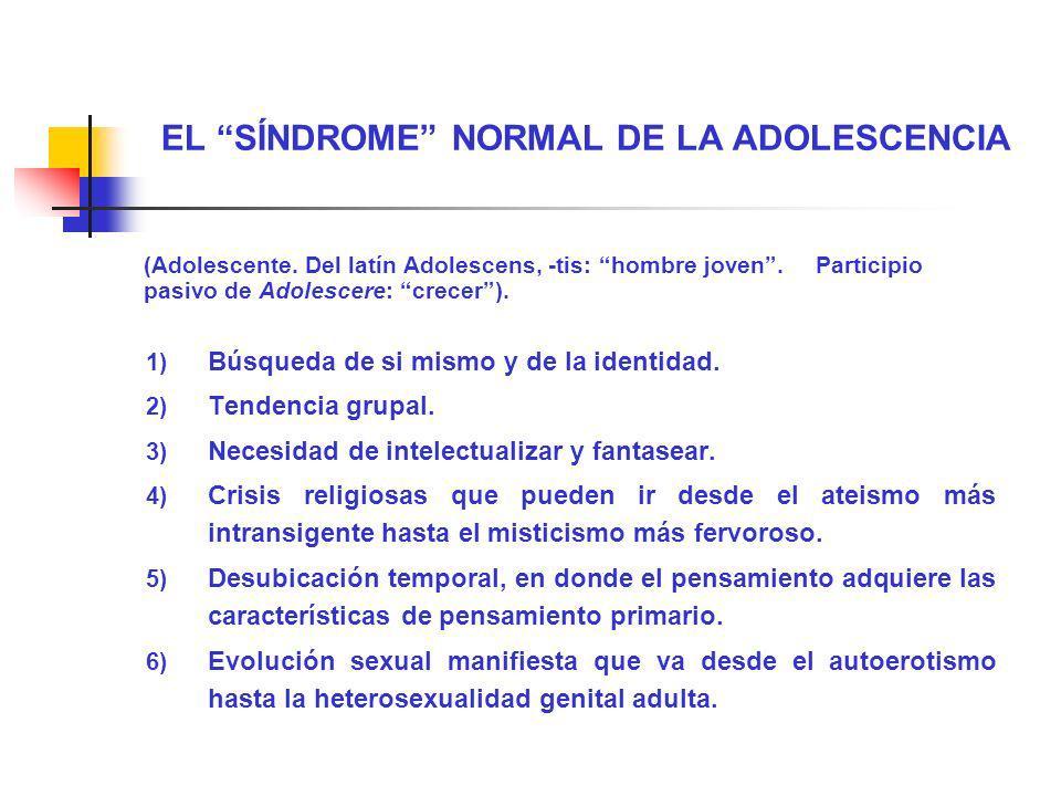 EL SÍNDROME NORMAL DE LA ADOLESCENCIA (Adolescente. Del latín Adolescens, -tis: hombre joven. Participio pasivo de Adolescere: crecer). 1) Búsqueda de
