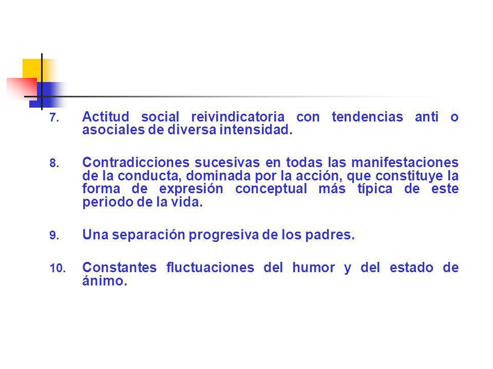 7. Actitud social reivindicatoria con tendencias anti o asociales de diversa intensidad. 8. Contradicciones sucesivas en todas las manifestaciones de