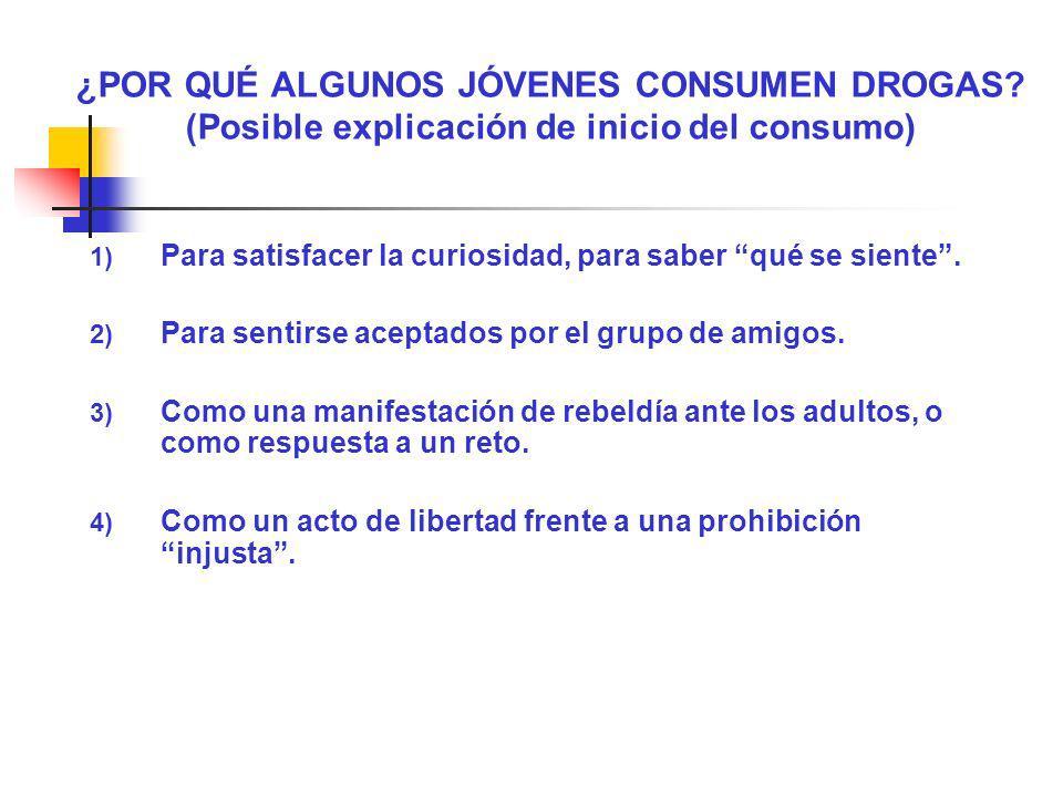 ¿POR QUÉ ALGUNOS JÓVENES CONSUMEN DROGAS? (Posible explicación de inicio del consumo) 1) Para satisfacer la curiosidad, para saber qué se siente. 2) P