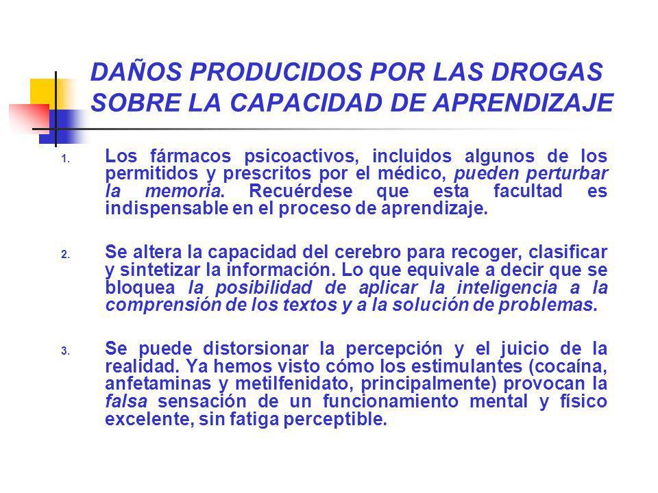 DAÑOS PRODUCIDOS POR LAS DROGAS SOBRE LA CAPACIDAD DE APRENDIZAJE 1. Los fármacos psicoactivos, incluidos algunos de los permitidos y prescritos por e