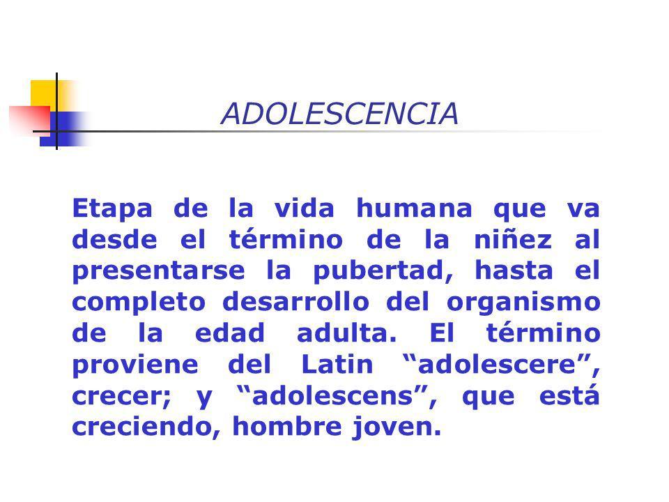 ADOLESCENCIA Etapa de la vida humana que va desde el término de la niñez al presentarse la pubertad, hasta el completo desarrollo del organismo de la
