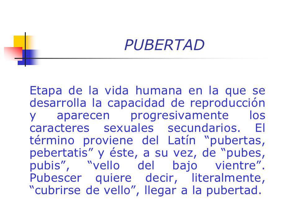 PUBERTAD Etapa de la vida humana en la que se desarrolla la capacidad de reproducción y aparecen progresivamente los caracteres sexuales secundarios.
