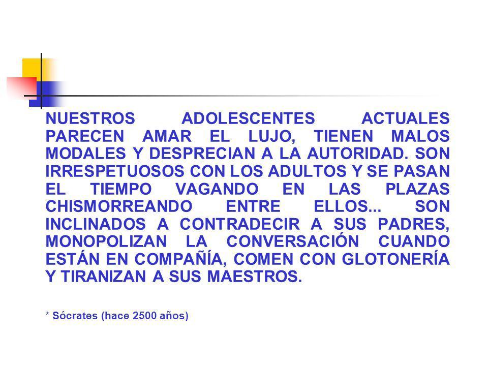 NUESTROS ADOLESCENTES ACTUALES PARECEN AMAR EL LUJO, TIENEN MALOS MODALES Y DESPRECIAN A LA AUTORIDAD. SON IRRESPETUOSOS CON LOS ADULTOS Y SE PASAN EL