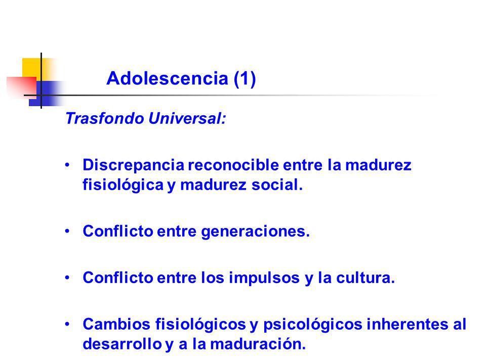 Adolescencia (1) Trasfondo Universal: Discrepancia reconocible entre la madurez fisiológica y madurez social. Conflicto entre generaciones. Conflicto