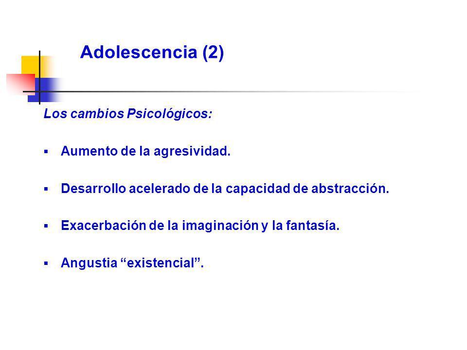 Adolescencia (2) Los cambios Psicológicos: Aumento de la agresividad. Desarrollo acelerado de la capacidad de abstracción. Exacerbación de la imaginac