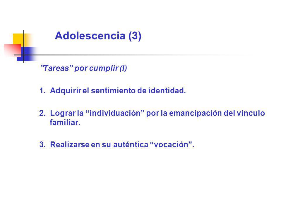 Adolescencia (3) Tareas por cumplir (I) 1. Adquirir el sentimiento de identidad. 2. Lograr la individuación por la emancipación del vínculo familiar.