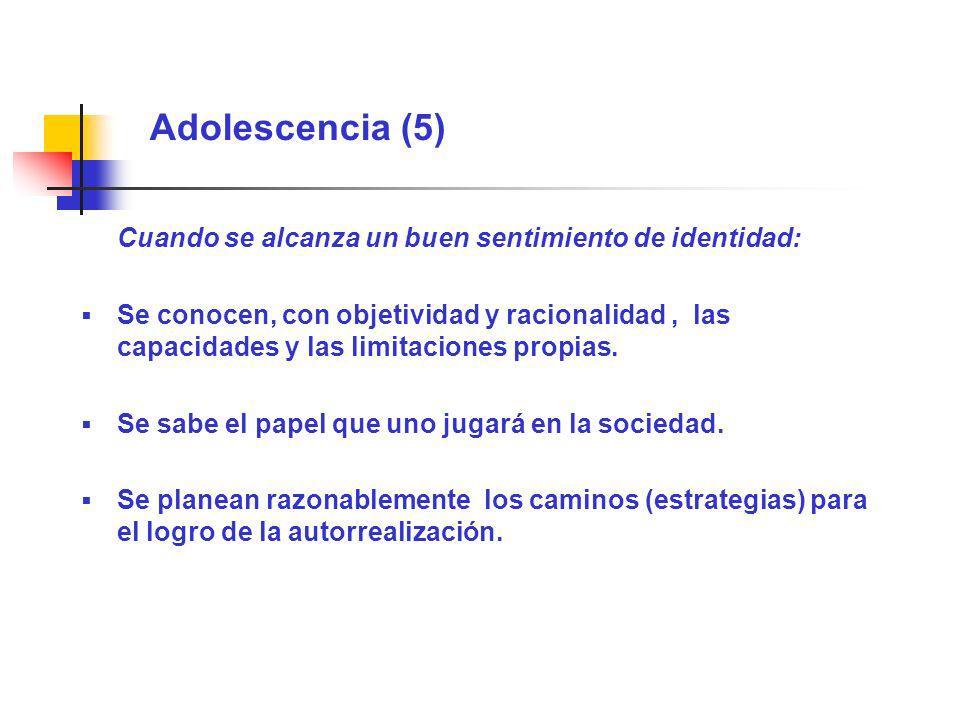 Adolescencia (5) Cuando se alcanza un buen sentimiento de identidad: Se conocen, con objetividad y racionalidad, las capacidades y las limitaciones pr
