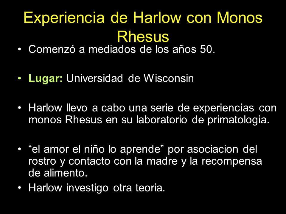 Experiencia de Harlow con Monos Rhesus Comenzó a mediados de los años 50. Lugar: Universidad de Wisconsin Harlow llevo a cabo una serie de experiencia