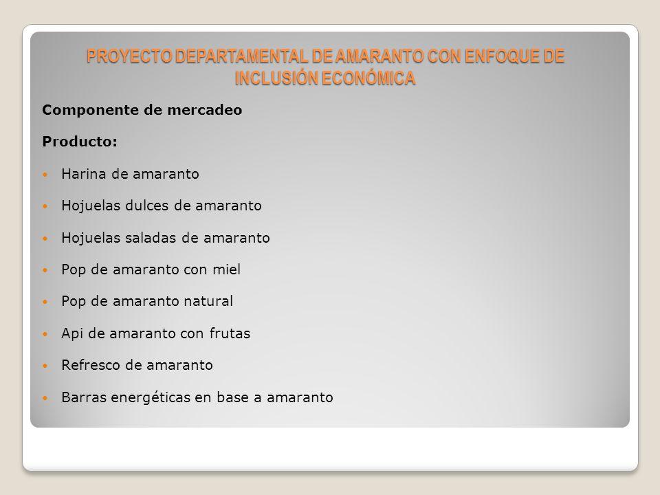 Componente de mercadeo Precio Plaza Promoción y Publicidad PROYECTO DEPARTAMENTAL DE AMARANTO CON ENFOQUE DE INCLUSIÓN ECONÓMICA