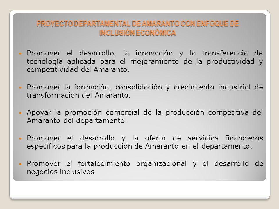 Modelo de Funcionamiento del Comité Departamental de Desarrollo del Amaranto en Chuquisaca PROYECTO DEPARTAMENTAL DE AMARANTO CON ENFOQUE DE INCLUSIÓN ECONÓMICA