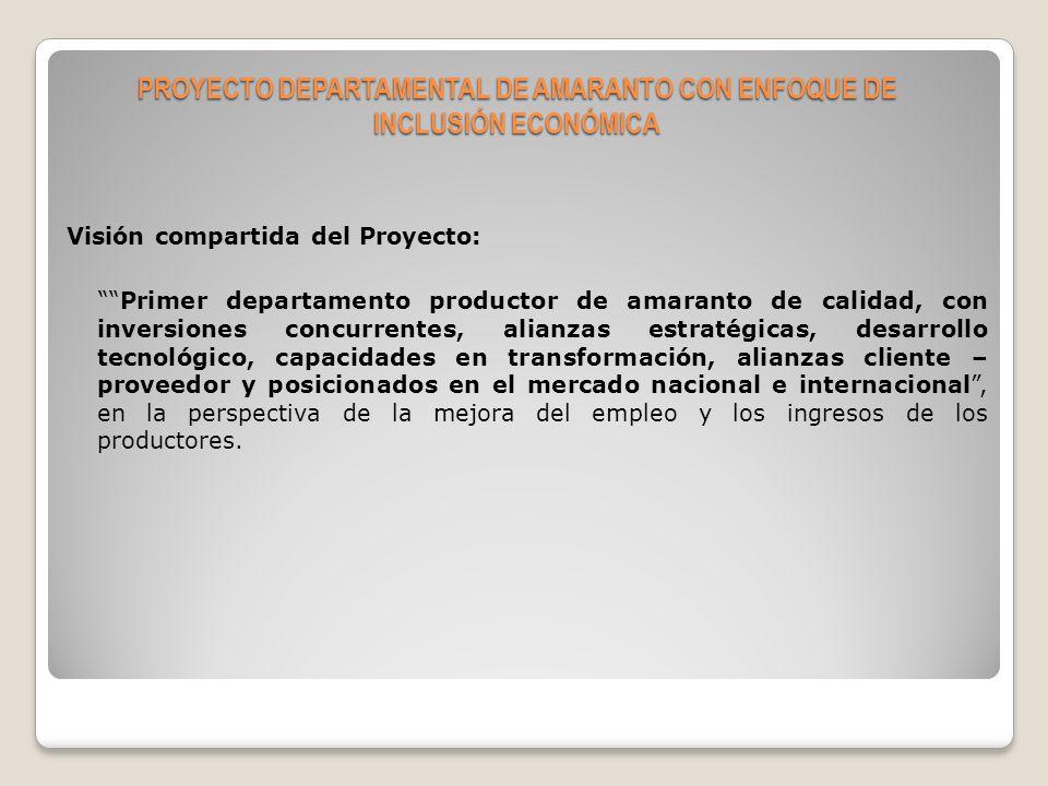 Objetivo general del proyecto Incrementar el ingreso agrícola monetario, sostenido, en al menos el 30%, de 3.729 familias de 16 municipios del departamento de Chuquisaca, hasta el 2014.