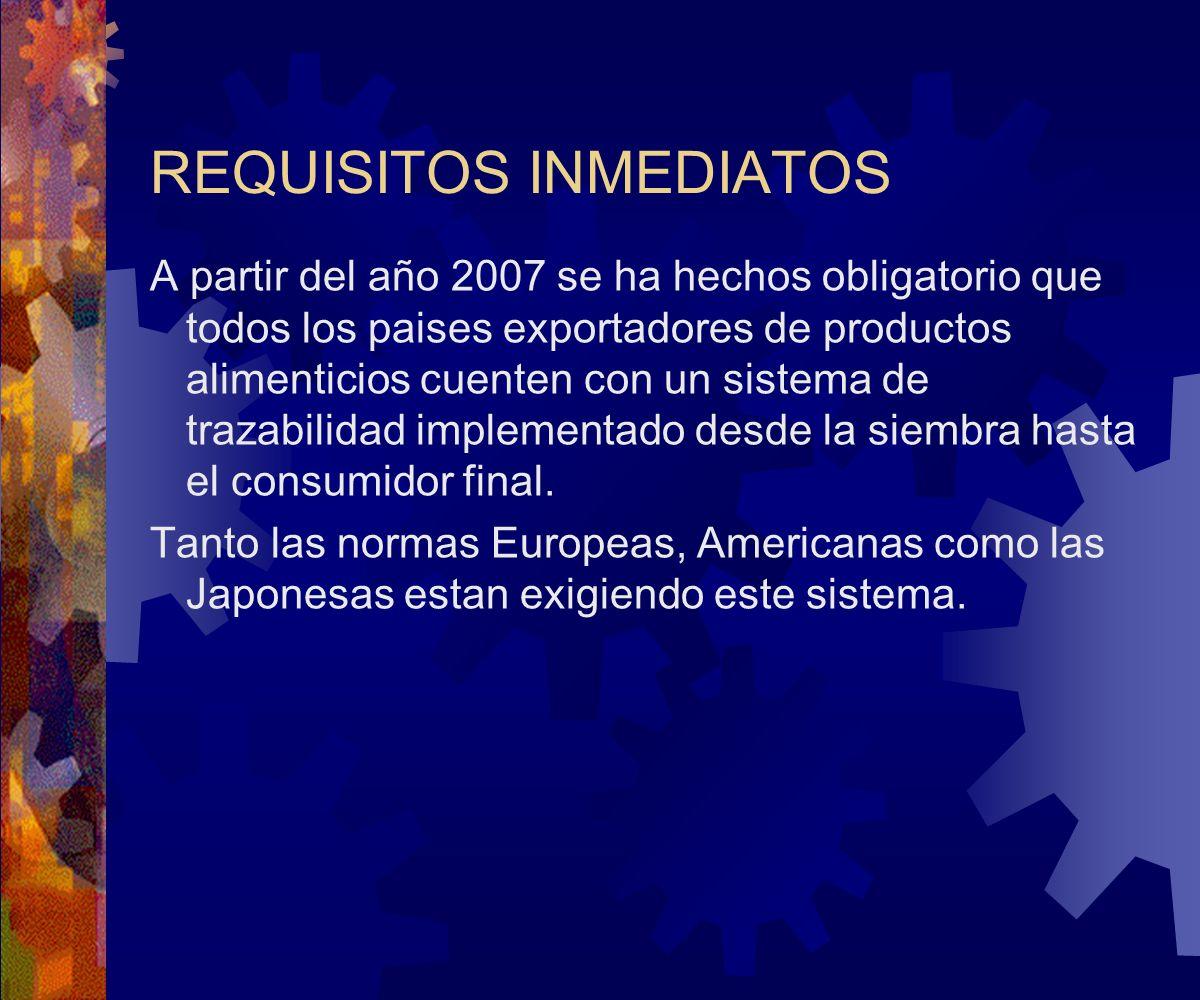 REQUISITOS INMEDIATOS A partir del año 2007 se ha hechos obligatorio que todos los paises exportadores de productos alimenticios cuenten con un sistem