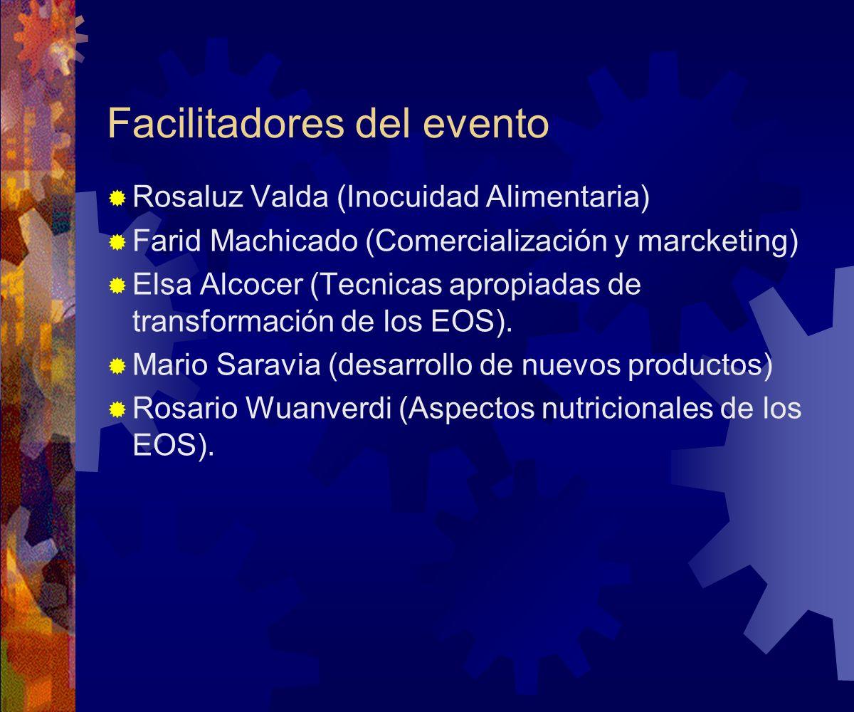 Facilitadores del evento Rosaluz Valda (Inocuidad Alimentaria) Farid Machicado (Comercialización y marcketing) Elsa Alcocer (Tecnicas apropiadas de tr