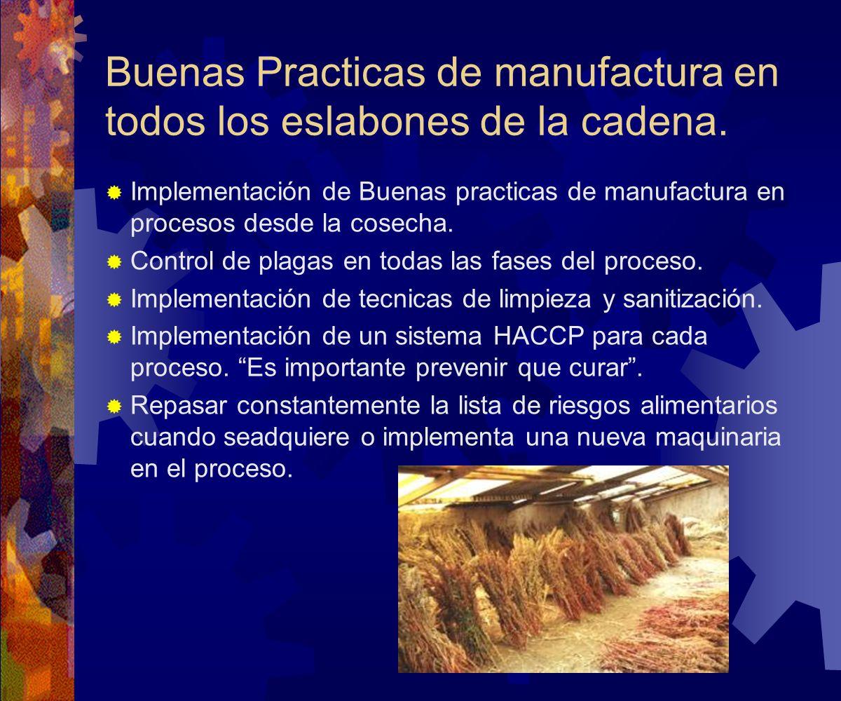 Buenas Practicas de manufactura en todos los eslabones de la cadena. Implementación de Buenas practicas de manufactura en procesos desde la cosecha. C