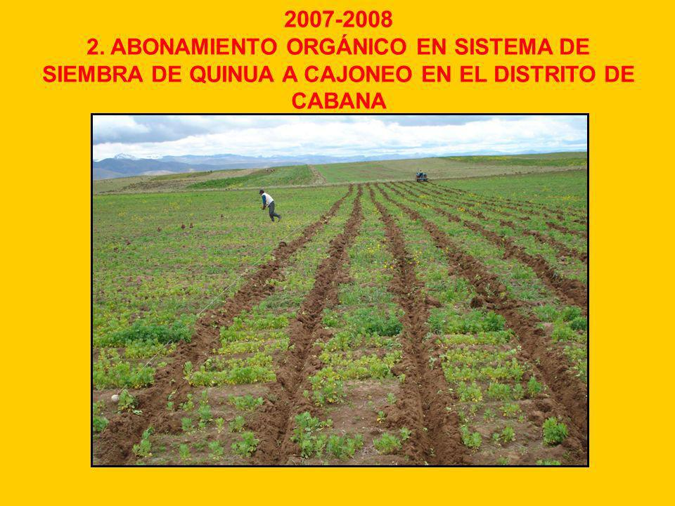 2007-2008 2. ABONAMIENTO ORGÁNICO EN SISTEMA DE SIEMBRA DE QUINUA A CAJONEO EN EL DISTRITO DE CABANA
