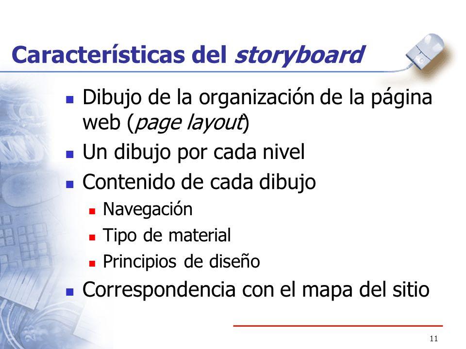11 Características del storyboard Dibujo de la organización de la página web (page layout) Un dibujo por cada nivel Contenido de cada dibujo Navegació
