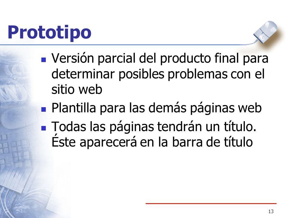 13 Prototipo Versión parcial del producto final para determinar posibles problemas con el sitio web Plantilla para las demás páginas web Todas las pág