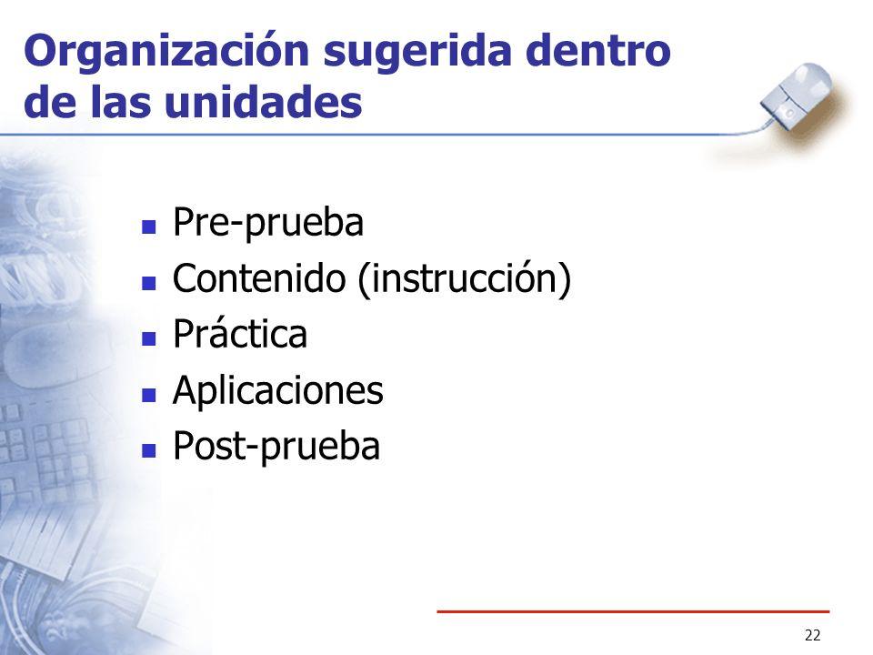 22 Organización sugerida dentro de las unidades Pre-prueba Contenido (instrucción) Práctica Aplicaciones Post-prueba
