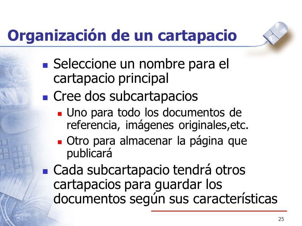 25 Organización de un cartapacio Seleccione un nombre para el cartapacio principal Cree dos subcartapacios Uno para todo los documentos de referencia,