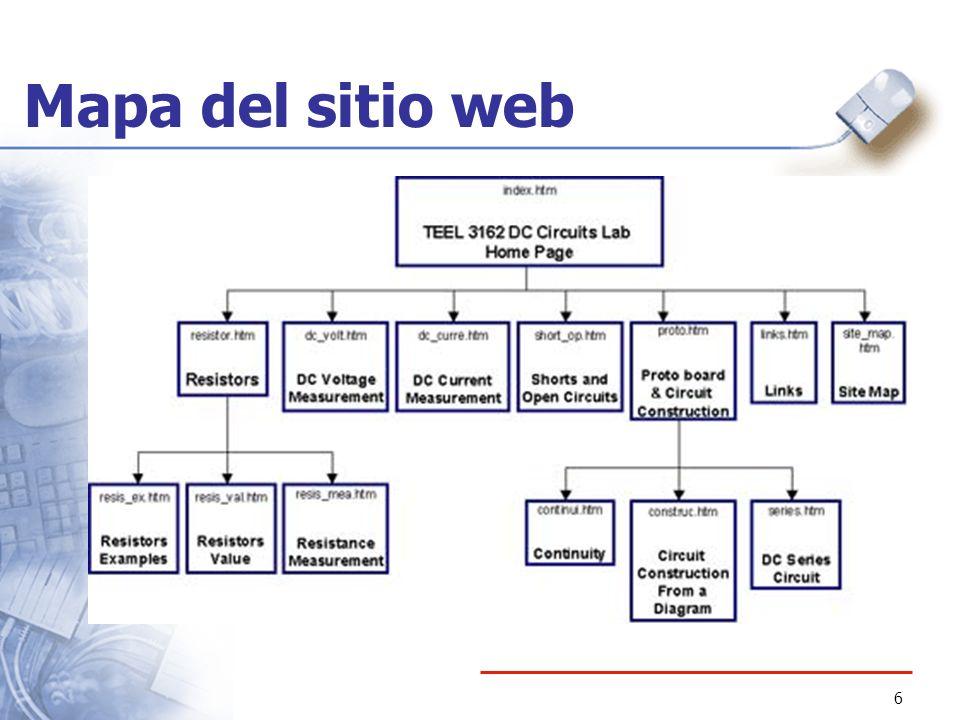 7 Características del mapa del sitio Web Bloques representan una página Nombre del archivo o documento Breve descripción de la página Organización jerárquica Preferiblemente un máximo de 3 niveles Líneas representan enlaces entre las páginas
