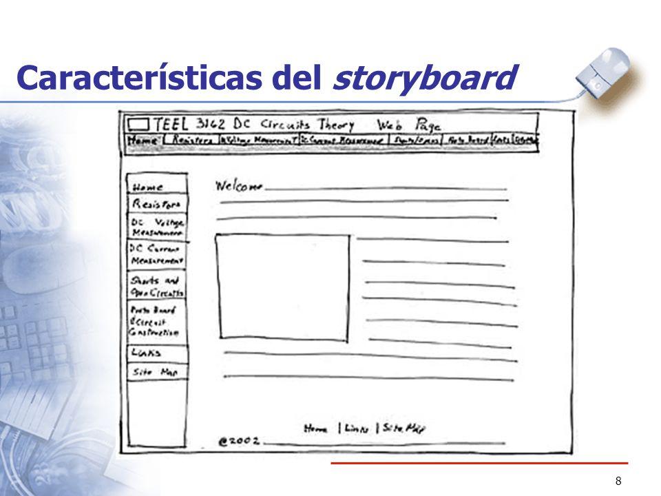 8 Características del storyboard
