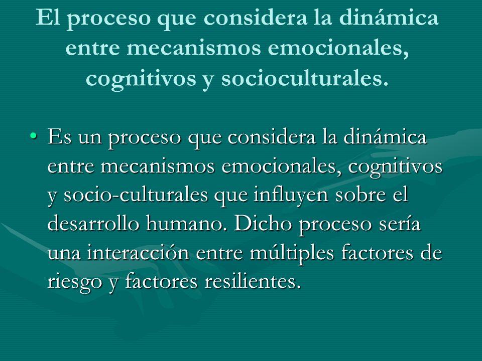 El proceso que considera la dinámica entre mecanismos emocionales, cognitivos y socioculturales. Es un proceso que considera la dinámica entre mecanis