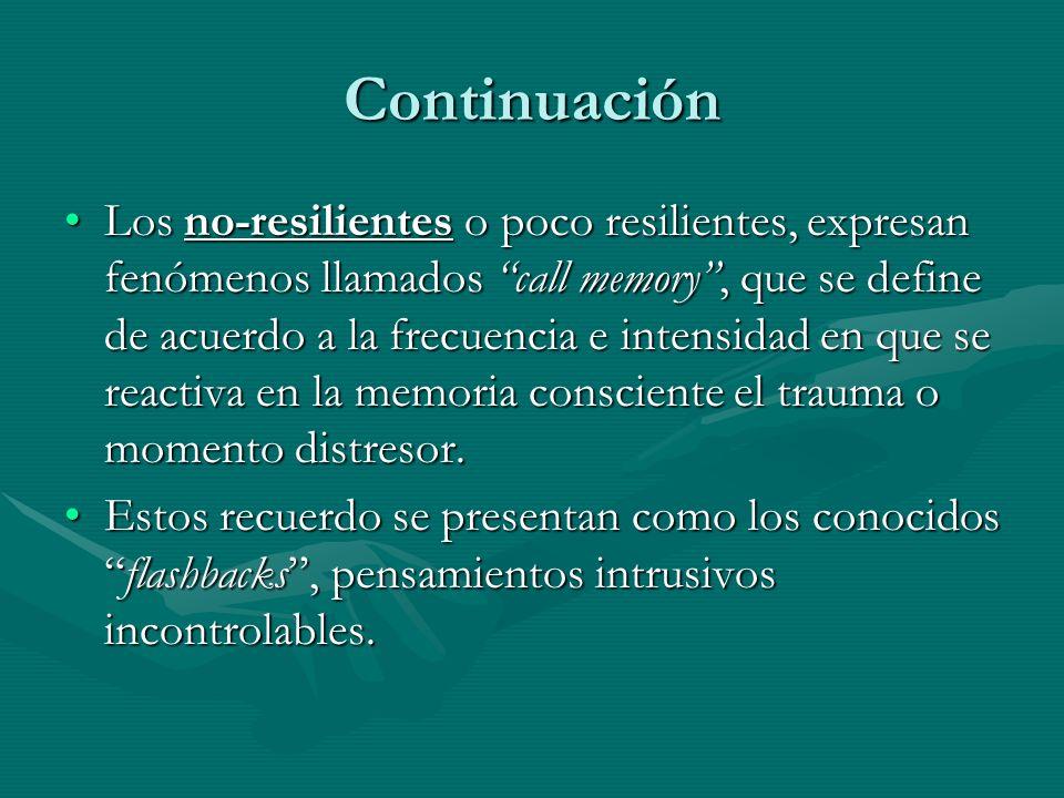 Continuación Los no-resilientes o poco resilientes, expresan fenómenos llamados call memory, que se define de acuerdo a la frecuencia e intensidad en