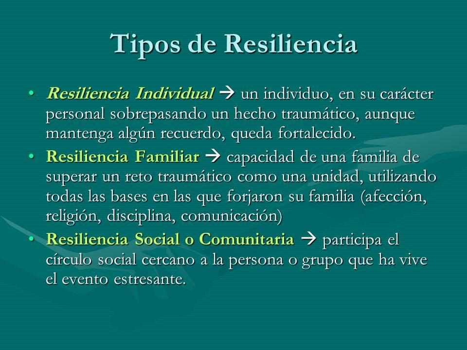 Tipos de Resiliencia Resiliencia Individual un individuo, en su carácter personal sobrepasando un hecho traumático, aunque mantenga algún recuerdo, qu