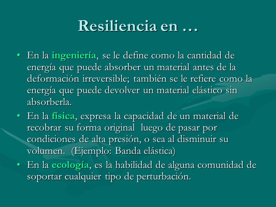Resiliencia en … En la ingeniería, se le define como la cantidad de energía que puede absorber un material antes de la deformación irreversible; tambi
