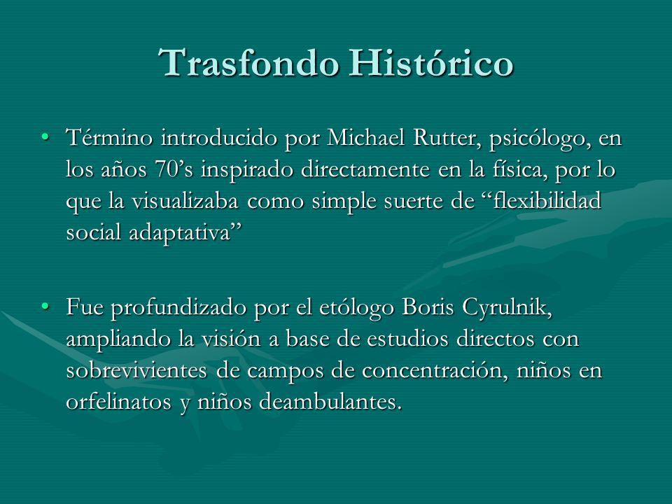 Trasfondo Histórico Término introducido por Michael Rutter, psicólogo, en los años 70s inspirado directamente en la física, por lo que la visualizaba