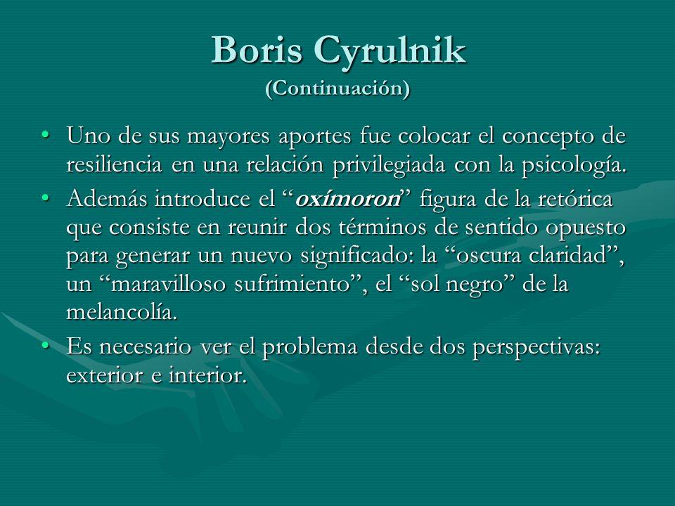 Boris Cyrulnik (Continuación) Uno de sus mayores aportes fue colocar el concepto de resiliencia en una relación privilegiada con la psicología.Uno de
