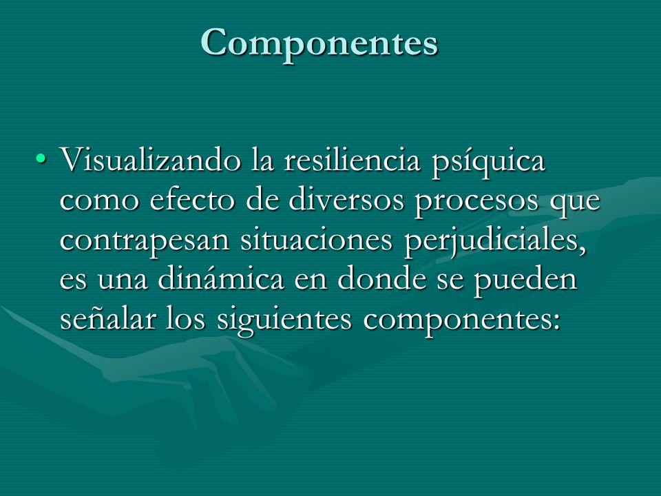 Componentes Visualizando la resiliencia psíquica como efecto de diversos procesos que contrapesan situaciones perjudiciales, es una dinámica en donde